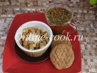 Запеченое яблоко с клетчаткой, чай травяной и лепешки