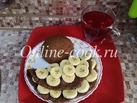 Овсяноблин с бананом, лепешка и чай каркаде