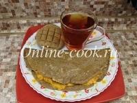 Овсяноблин из льняной муки с абрикосовым пюре, чай черный и лепешка