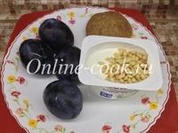 Слива чернослив и творог данон мягкий 5% с кедровыми орешками, лепешка
