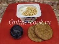 Творог мягкий 5% данон, слива чернослив, кедровый орех и 2 лепешки