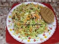 Капуста ранняя, редис, морковка, зеленый лук, лепешка (Петров пост 2017г. 9-й день)